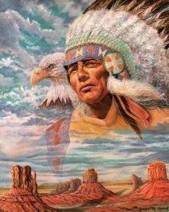 indiaan met adelaar